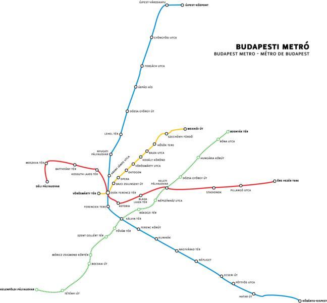 Будапешт схема метро - Схема
