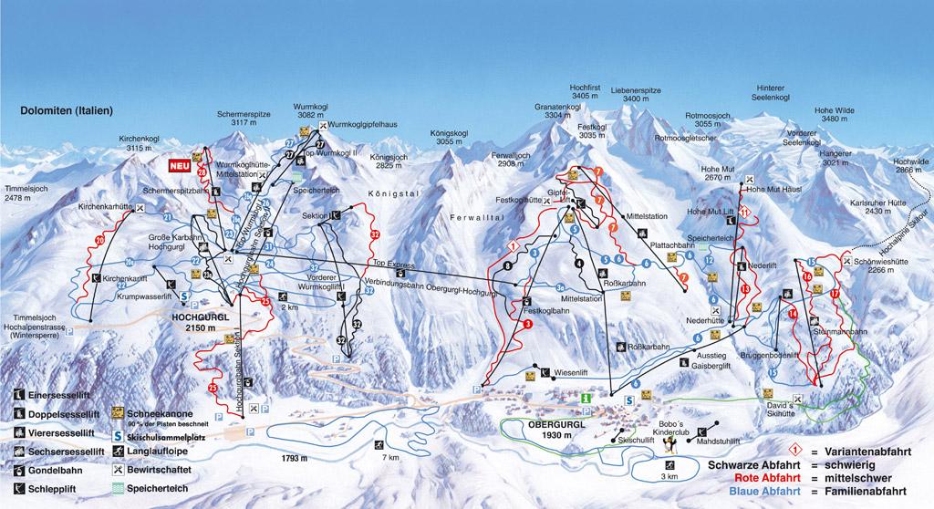 Увеличить схему горнолыжных трасс.
